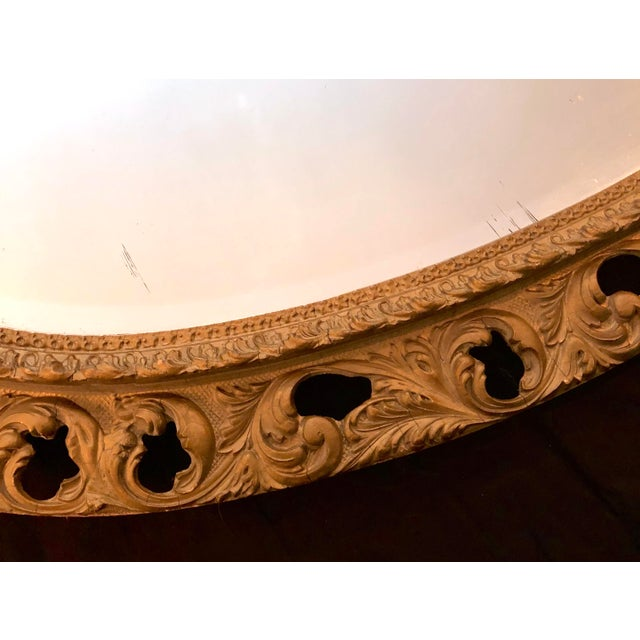 Wood 20th Century Italian Gilt Carved Wood Oval Beveled Wall Mirror For Sale - Image 7 of 10