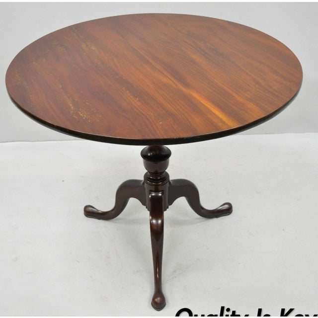 20th Century Queen Anne Style Tripod Mahogany Tilt Top Occasional Table For Sale - Image 11 of 11