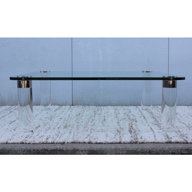 1970's Large Lucite Coffee Table For Sale - Image 5 of 11