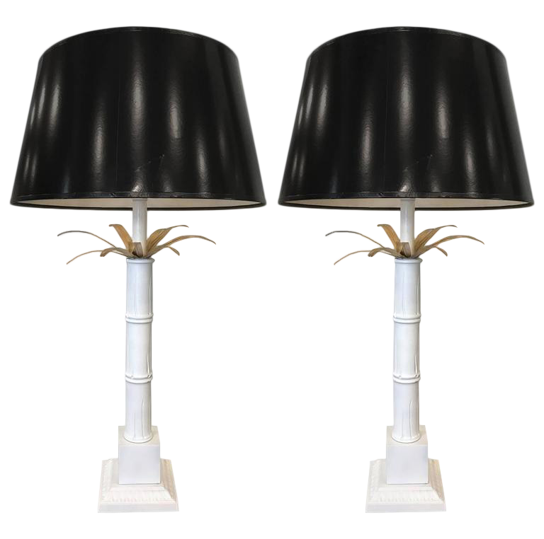 Charming Pair Of Vintage Palm Tree Lamps Style Of Maison Jansen   Image 1 Of 6