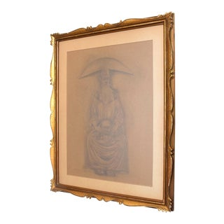 Rafael Coronel Drawing Pencil on Paper, Mounted Giltwood Frame For Sale