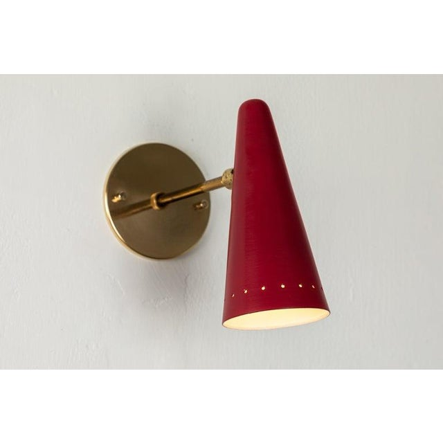 1960s Stilux Articulating Red Cone Sconces For Sale - Image 11 of 13
