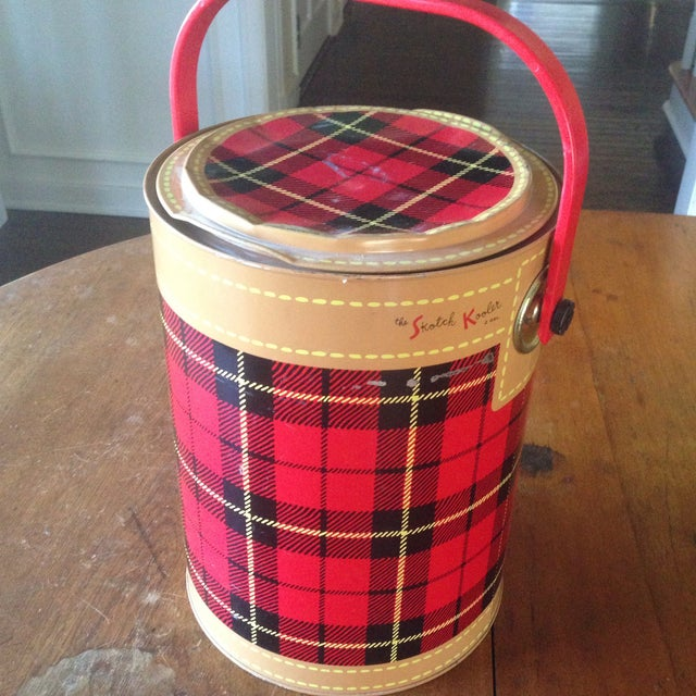 Mid Century Metal Plaid Cooler/Ice Bucket - Image 11 of 11