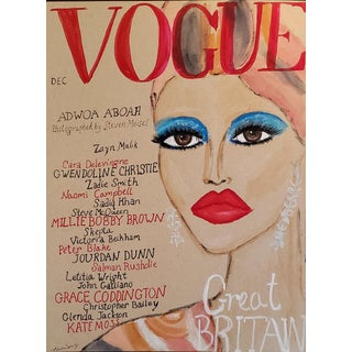 Great British Vogue Cover Mixed Media Drawing For Sale