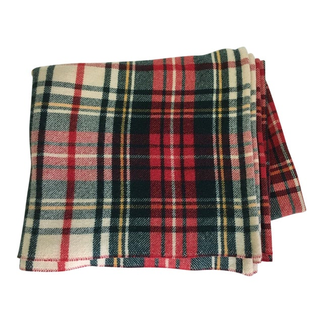 1980s Plaid Wool Blanket For Sale