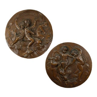 A Pair Of Elaborate Carved Nutwood Plaques With Putti, Ca. 1900 For Sale
