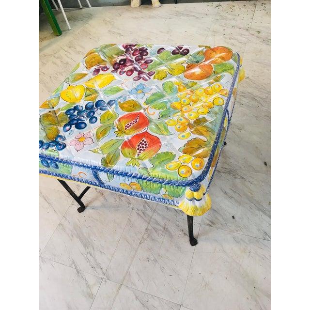 Italian Italian Ceramic Garden Seat With Iron Base For Sale - Image 3 of 12