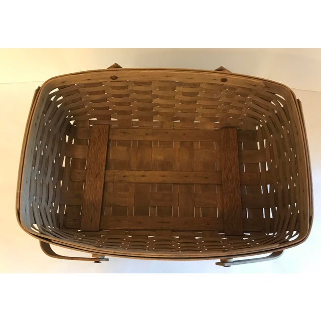 Wood Vintage Longaberger Cradle Basket For Sale - Image 7 of 9