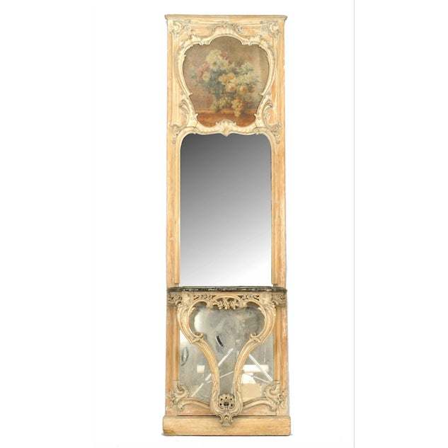 Green 19th Century French Louis XV Console Table and Mirror For Sale - Image 8 of 8