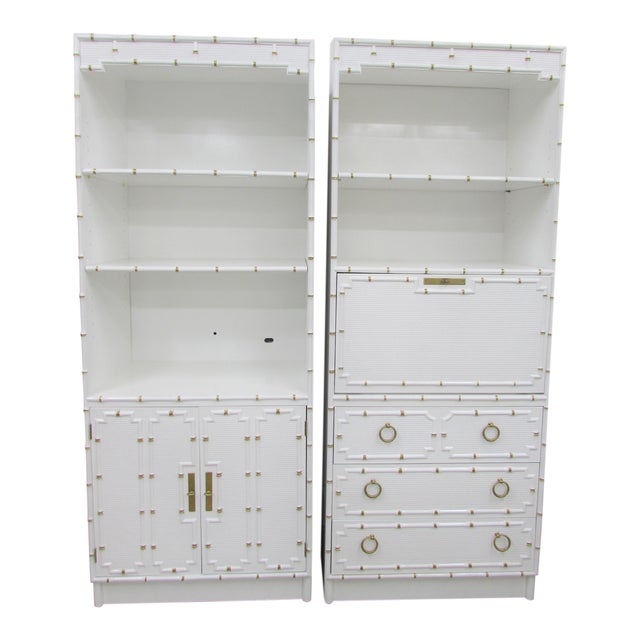 Pair of Omega Hollywood Regency Shelf and Secretary For Sale