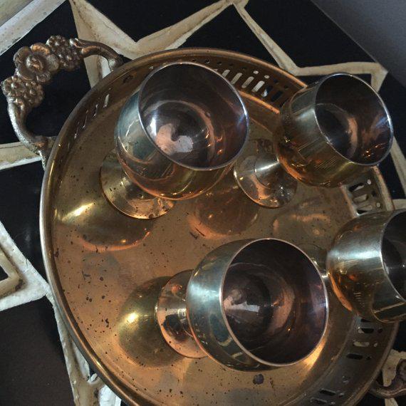 Hollywood Regency Vintage Hollywood Regency Solid Brass Cordial Set For Sale - Image 3 of 5