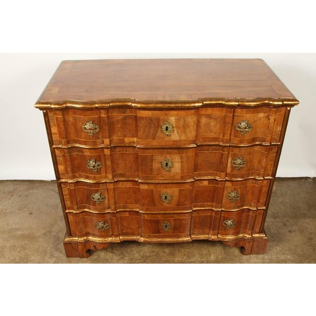 Walnut Danish Rococo chest of drawers with key For Sale - Image 7 of 10