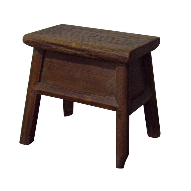 """This is a simple natural wood single seat wood stool with Rustic original raw wood finish. Dimensions: w16"""" x d9.5"""" /13"""" x..."""