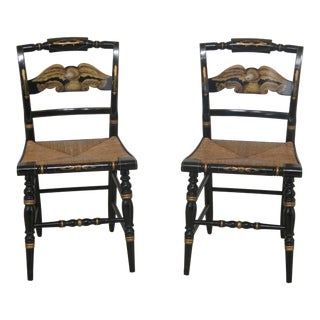 1960s Vintage Hitchcock Eagle Stenciled Back Rush Seat Chairs- A Pair For Sale