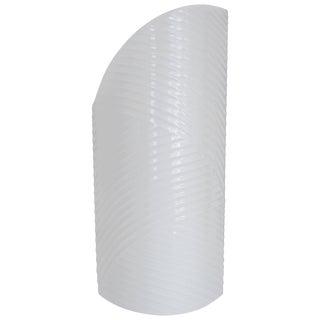 European White Ribbed Asymmetric Porcelain Ceramic Vase For Sale