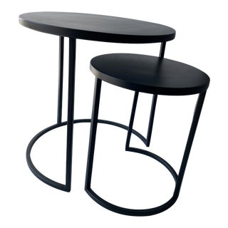Black Metal Nesting Tables - A Pair For Sale