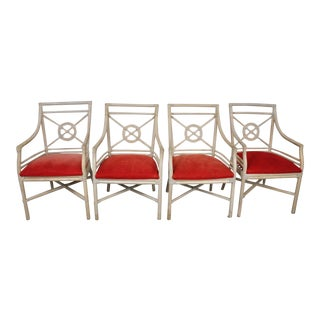 Set of 4 Vintage George III Style Bamboo Dining Chairs For Sale