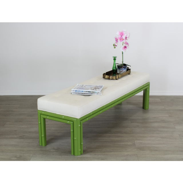 Mid-Century Modern Mid-Century Apple Green Faux Bamboo Bench With Linen Cushion, Green Bamboo Bench, Cream Linen Bench For Sale - Image 3 of 8