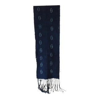 Fashion Mud Cloth Blue and White Resist-Dyed Unisex Scarf With Long Fringes For Sale