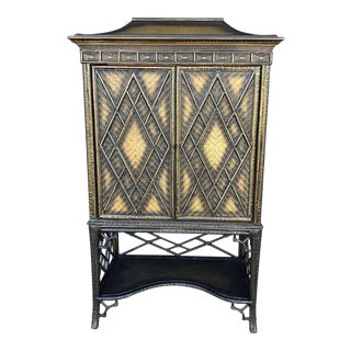 Chinoiserie Rattan Pagoda Style Tv Cabinet Armoire