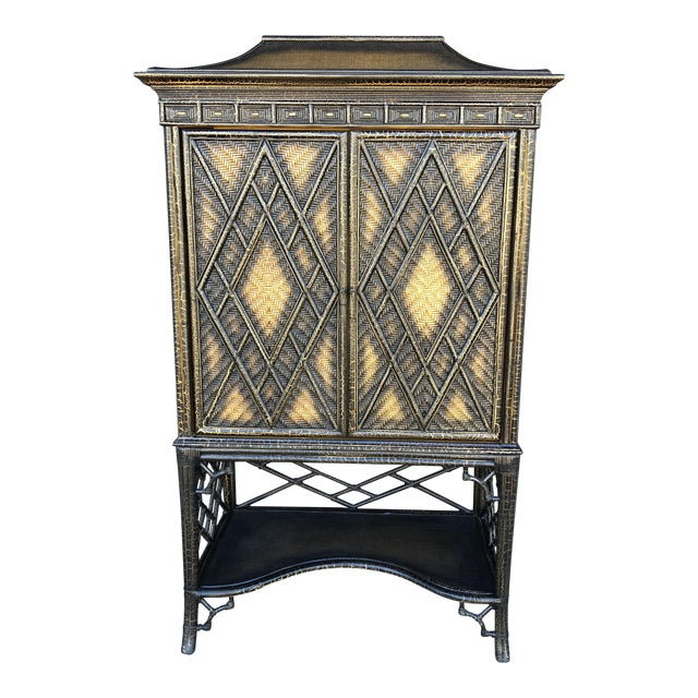 Chinoiserie Rattan Pagoda Style Tv Cabinet Armoire For Sale