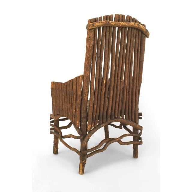 Rustic Adirondack Twig Arm Chair For Sale - Image 4 of 5