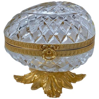 French Cut Glass & Ormolu Mounted Egg Box, in the Manner of Baccarat For Sale