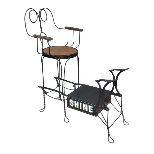 Antique Twisted Iron Shoe Shine Stand For Sale