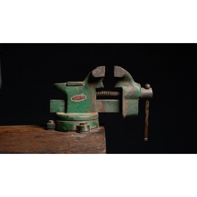Metal Vintage Industrial Machinist Cabinet With Bench Vise For Sale - Image 7 of 11