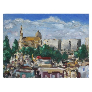 Jack Freeman View of the University of San Francisco, Oil on Canvas Cityscape For Sale