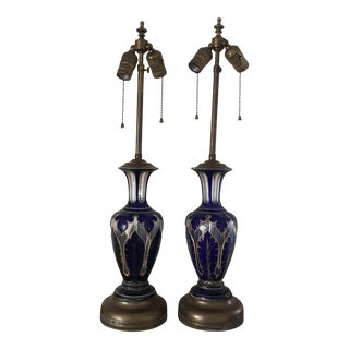 Bohemian Carved Crystal Gilded Cobalt Lamps - A Pair