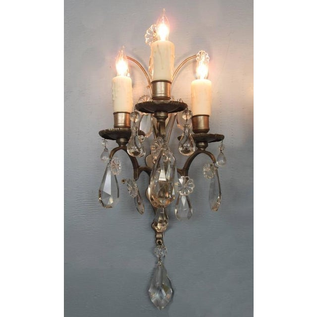 Pair of Mid-19th Century Italian Baroque Silvered Bronze and Crystal Sconces For Sale - Image 4 of 8