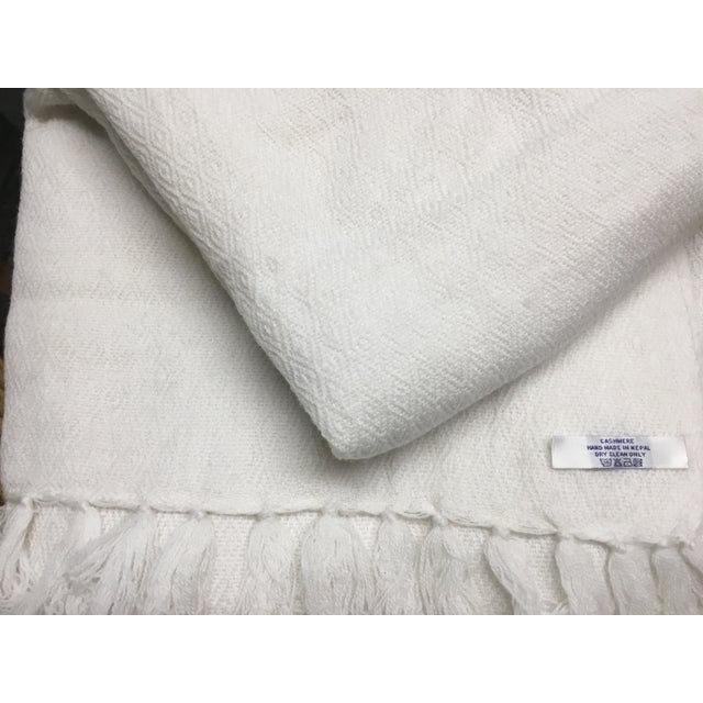 White Tassel Cashmere Blend Blanket - Image 8 of 11