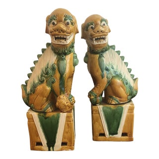 Large Ceramic Foo Dogs - a Pair For Sale