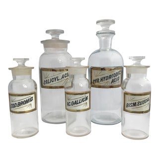 19th Century Early American Hand Painted Apothecary Bottles - Set of 5 For Sale