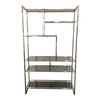 Milo Baughman Glass & Chrome Etagere For Sale