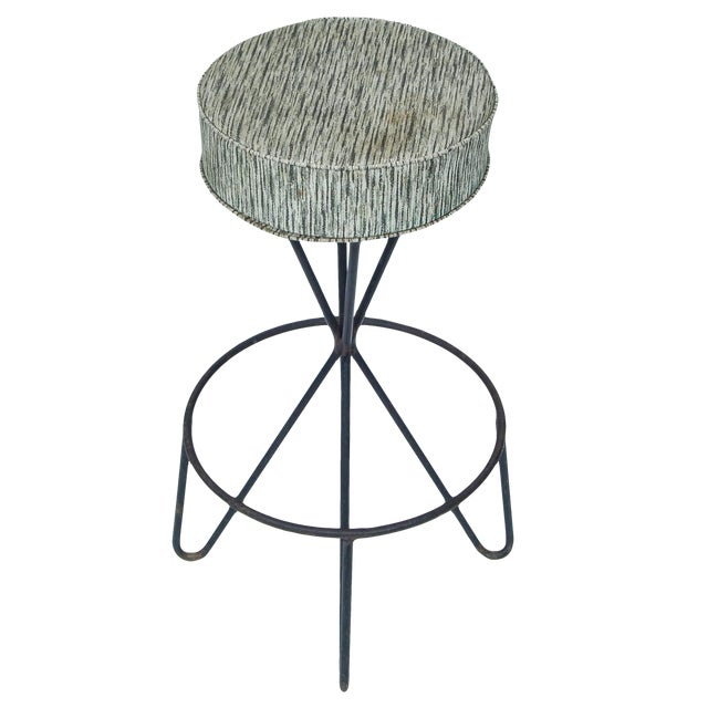 Mid Century Bar stools designed by Paul Tuttle -swivel. Metal base -vinyl seat. Sold as a set of 3.