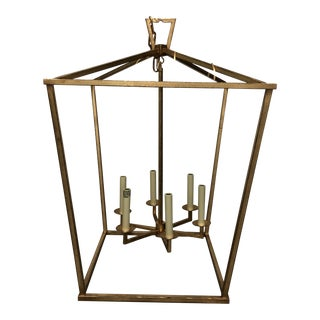 "Visual Comfort ""Darlana"" Large Lantern in Gilded Iron For Sale"