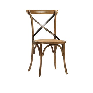 Oak Seat X Back Chair For Sale