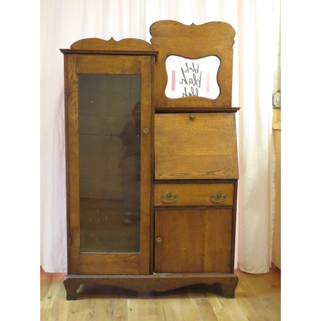 Oak Secretary Curio Cabinet For Sale - Image 11 of 11