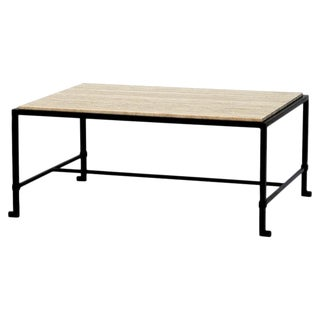 Contemporary Diagramme Travertine and Iron Coffee Table For Sale