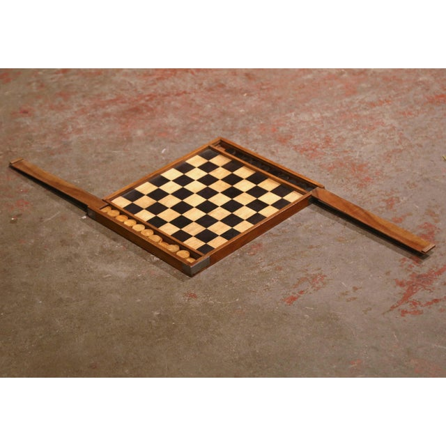 19th Century French Walnut Complete Checkers Board Game For Sale - Image 4 of 6