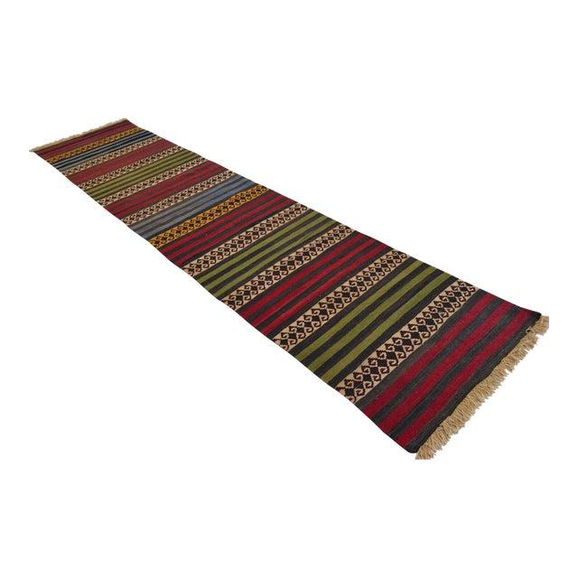 "Anatolian Wool Kilim Long Runner Rug - 2'7"" X 12'3"" - Image 1 of 9"
