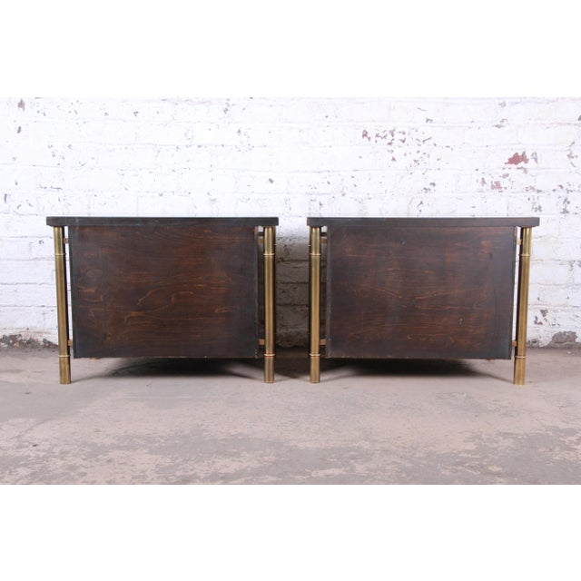 Bernhard Rohne for Mastercraft Hollywood Regency Faux Bamboo Brass and Burl Bedside Chests - a Pair For Sale - Image 11 of 12