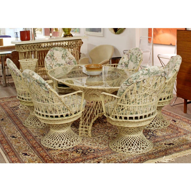 For your consideration is a rare full patio set, made of spun fiberglass, by Russell Woodard, circa the 1960s. The set...