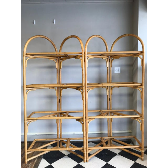 Cottage Palm Beach Style Rattan Shelving Unit For Sale - Image 3 of 12