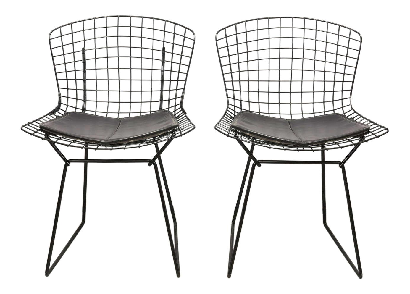Wonderful Bertoia Wire Chairs With Black Leather Knoll Cushions, 1960s, USA   Image 1  Of