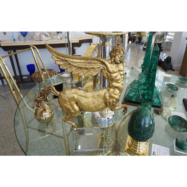 Lucite Stand With Antique Neoclassic Revival Winged AlaCentaur Figure Gold Leaf For Sale - Image 12 of 12