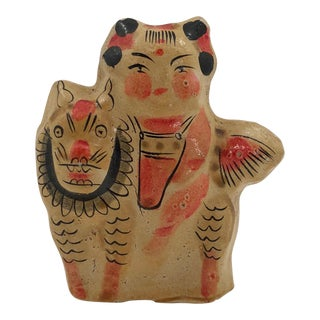 20th Century Japanese Painted Papier Mache Girl With Lion-Dog Tabletop Sculpture For Sale