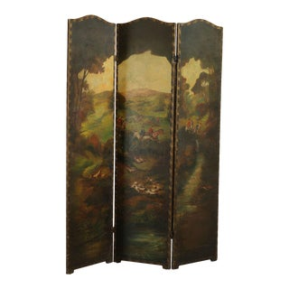English Hunt Scene Hand Painted 3 Panel Folding Screen For Sale